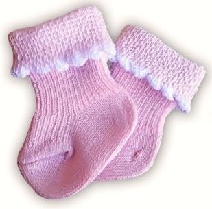 Носочки  розовые, 100% хлопок, р. 3-4 см