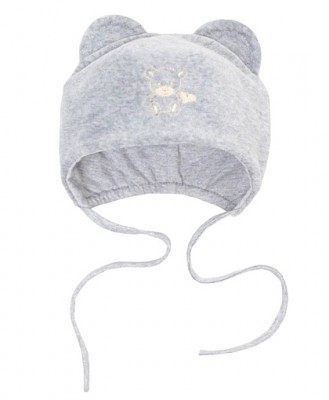 Шапочка велюровая  Мишутка серая  на подкладке, на рост 50 см