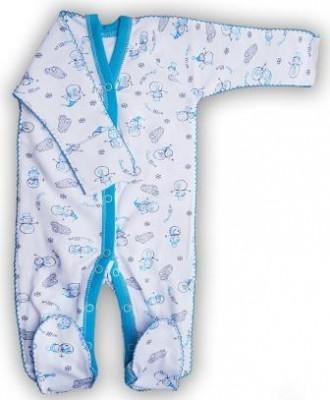 """Комбинезон """"Снеговик""""  голубой из футера, шов мережка, теплый, на рост 42 см"""