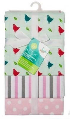 """Пеленки фланелевые """"Babydays"""" """"Птички"""" розовые 3 шт. в подарочной упаковке , 76х76 см."""
