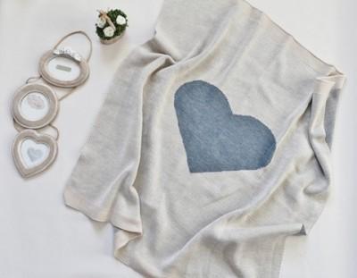 Плед вязанный, Сердце, размер 100х100 см