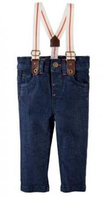 Джинсы  на бретелях темно-синие, на рост 50 см, R mini, Франция