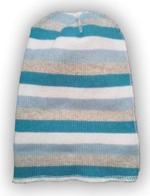 Шапочка голубая   из кашкорсе   с начесом полосатая,  круглая, на рост 50 см