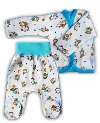 """Комплект из футера кофточка и штанишки  """"Спокойной ночи"""" голубой,  теплый, на рост  42 см, 46 см, 50 см"""