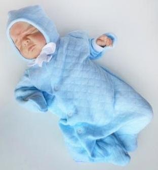 """Комплект """"Голубой""""  утепленный  из капитония: комбинезон и шапочка, на рост  50 см"""