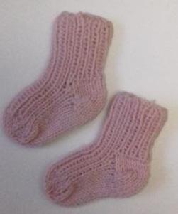 Носочки вязаные розовые, 100% мериносовая шерсть, длина стопы 6 см, 7 см, 8 см