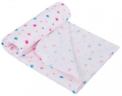 Пеленка фланель Цветочки  80 х 110 см, цвет: розовый