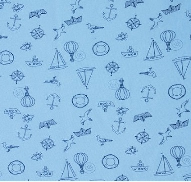 Пеленка из интерлока Морская 80 х 120 см, голубая
