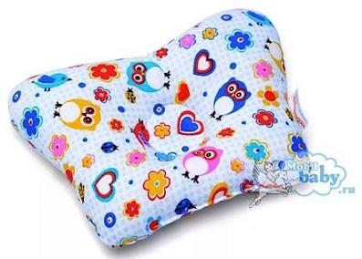 Ортопедическая подушка-бабочка для новорожденного, совушки, 0-6 мес.