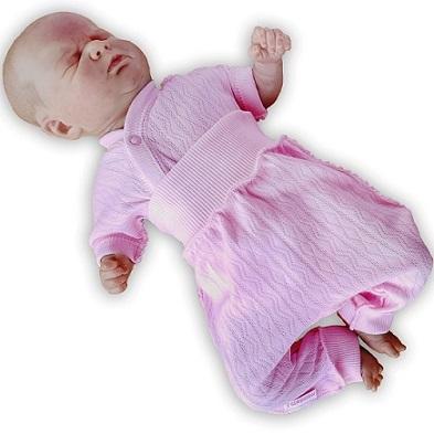 "Комплект ""Ажур"" Розовый из интерлока: распашонка и штанишки без следа,  на рост 46 см"