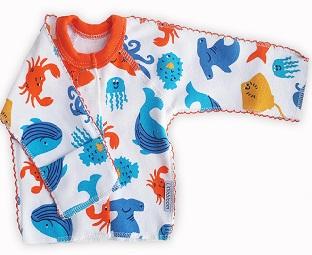 "Кофточка ""Океан"" из интерлока на липучках ,  шов мережка, на рост ребенка  42 см, 46 см"