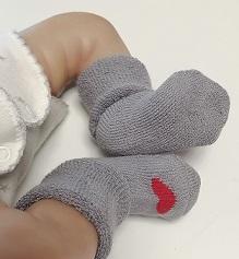 Носочки  махровые серые с сердечком , 4-6 см