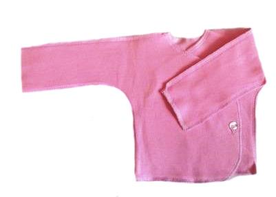 Распашонка розовая из футера теплая, на рост  46 см