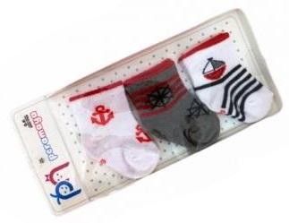 """Носочки  в упаковке для мальчика   """"моряк"""", 0-1 мес., 3 шт., Pera Maya, Турция"""