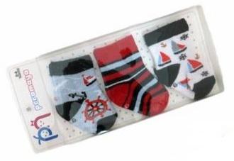 """Носочки  в упаковке  для мальчика """"капитан"""", 0-1 мес., 3 шт., Pera Maya, Турция"""