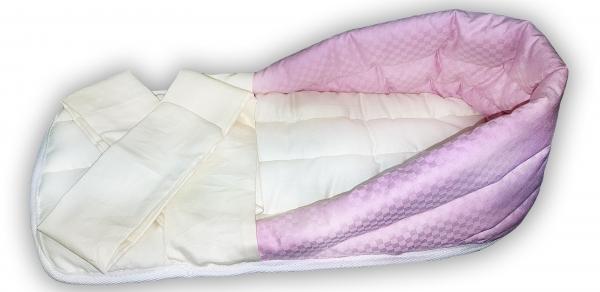 """Гнездо для недоношенных детей """"Розовое"""" из интерлока, с лямками, 0.8-1.5 кг"""
