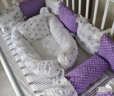 Комплект в кроватку Лавандовое настроение на 3 стороны кроватки