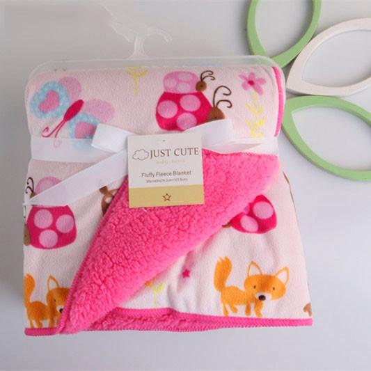 Одеяло флисовое с мехом, розовое, 102х76 см, Just Cute