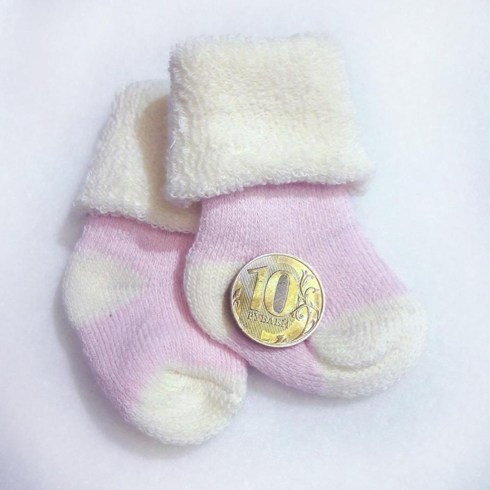 Носочки  махровые, розовые  с белым, р. 3-4,  4-6 см