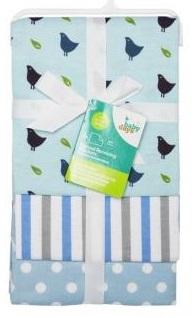 """Пеленки фланелевые Babydays  """"Птички"""" голубые 3 шт. в подарочной упаковке, 76х76 см"""