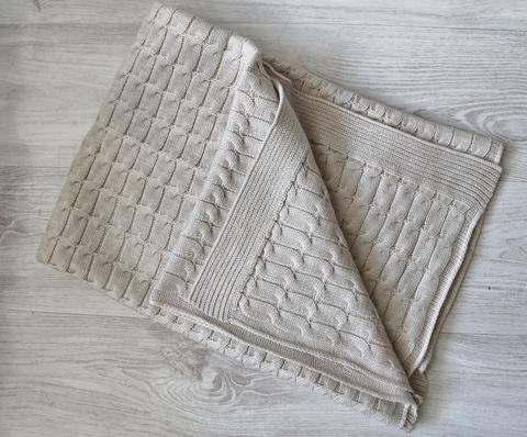 Плед вязанный, Крем, размер 100х100 см
