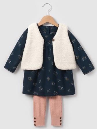Комплект: жилет, платье и леггинсы, на рост 50-52 см,  R mini, Франция