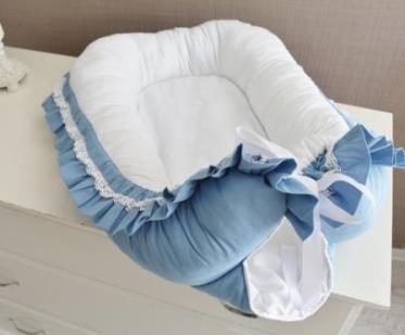 "Гнездышко кокон babynest ""Сказка"", голубой для младенца, размер 15х57х85см"