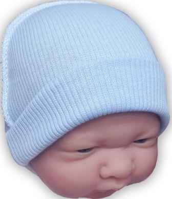 Шапочка  трикотажная голубая 100% хлопок, на рост 38 см, 42 см, 46 см