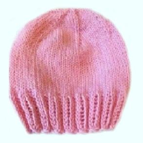 Шапочка вязаная 100%  мериносовая шерсть, розовая,  на рост  46, 50 см