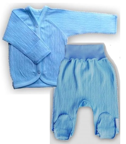 "Комплект ""Ажур"" Голубой  из интерлока: кофточка и штанишки со следом,  на рост 46 см, 50 см"