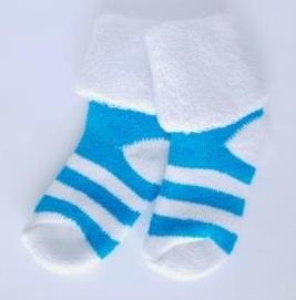 Носочки  махровые,  полосатые  бирюза с белым,  3-4 см