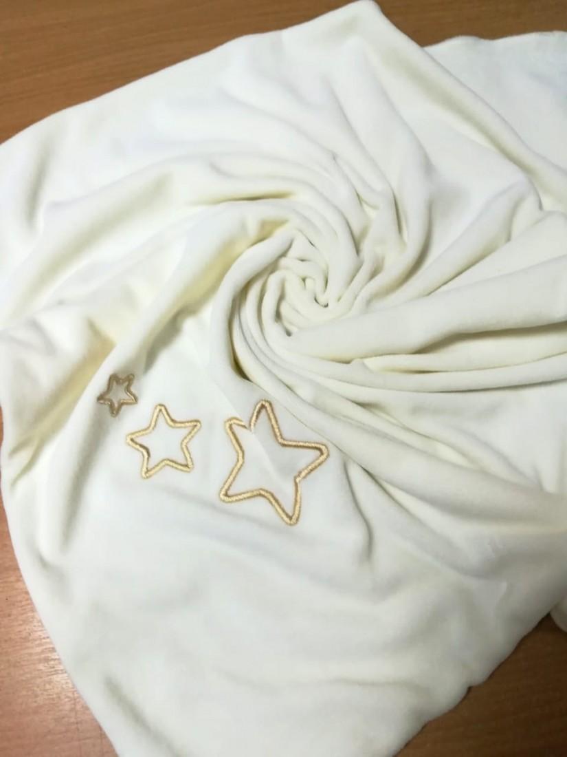 """Одеяльце в кувез велюровое на подкладке из хлопка  с вышивкой """"Звезды"""",  экрю, 60х70 см"""
