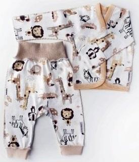 """Комплект  """"Африка"""" из трикотажа: кофточка и  штанишки без следа , 100% хлопок,  на рост 42 см"""