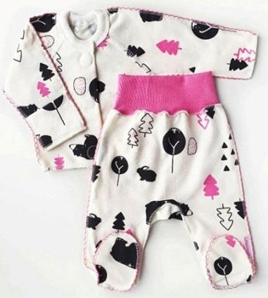 """Комплект """"Лес"""" розовый из футера, теплый: кофточка  на липучках и штанишки со следом, на рост 42 см, 50 см"""