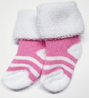 Носочки  махровые, Розовые с белым, полосатые, р. 3-4 см, 4-6 см