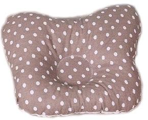 Ортопедическая подушка-бабочка для новорожденного, коричневая в горошек, 0-6 мес.