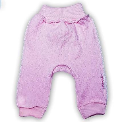 """Штанишки без следа """"Ажур"""" Розовый из интерлока,  шов мережка, на рост  46 см"""