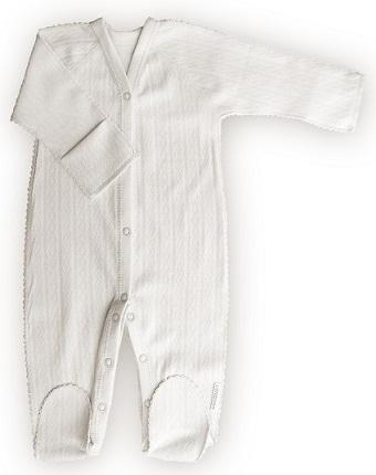 "Комбинезон ""Ажур""  Белый  из интерлока, шов мережка,  на рост  46 см, 50 см"