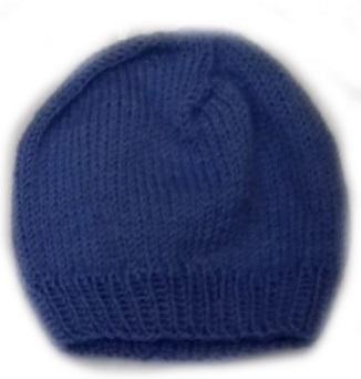 Шапочка вязаная голубая, 100% мериносовая шерсть,  на рост 42 см, 46 см, 50 см