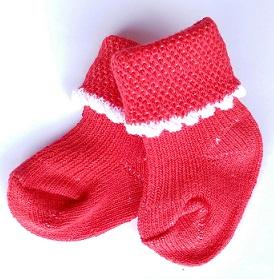 Носочки  красные, 100% хлопок,   4-6 см