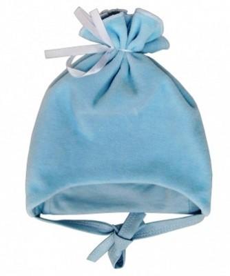 Шапочка  из велюра  голубая на подкладке  на рост 46 см
