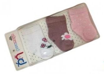 """Носочки для девочки  в упаковке """" цветочки""""  светлое  ассорти, 0-1 мес., 3 шт., Pera Maya, Турция"""