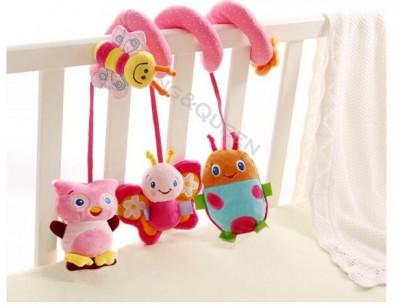 """Плюшевая спираль с  подвесными игрушками """"Жучок, бабочка, сова, пчелка"""", Sozzy"""