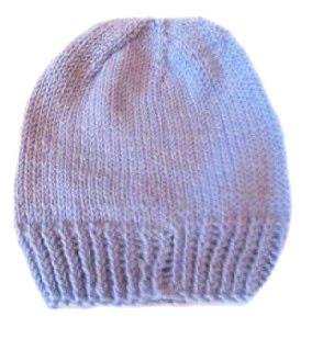 Шапочка вязаная голубая для мальчика, 100% мериносовая шерсть, на рост  42 см, 46 см