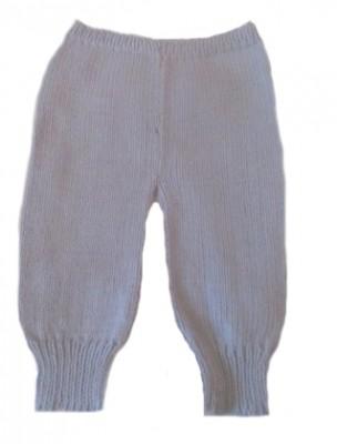 Штанишки вязаные голубые, 100% мериносовая шерсть,  на рост 46 см
