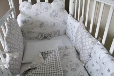 """Комплект в кроватку """"Mr.Teddy"""", (5 предметов): подушка, наволочка, простынь на резинке, одеяло , бортики."""