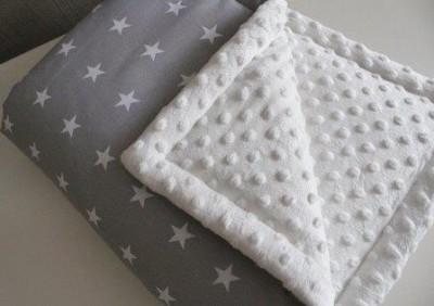 """Плед серый """"звезды"""" белый  плюш, демисезонный, 70х90см"""