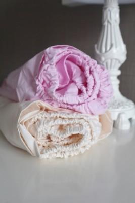 Комплект простыней для кроватки со спальным местом 60х120см, шампань/розовый