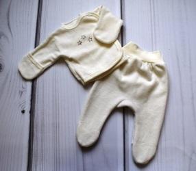Комплект из велюра  с вышивкой на выписку кофточка и штанишки, экрю, рост 46 см