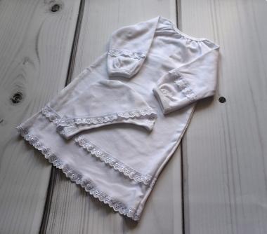 Комплект крестильный из интерлока: рубашка и шапочка,  белый, рост 46-50 см